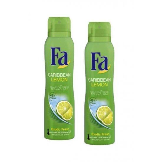 Fa Deodorant Sprey 2 Li Carribbean Limon 150 Ml + 150 Ml
